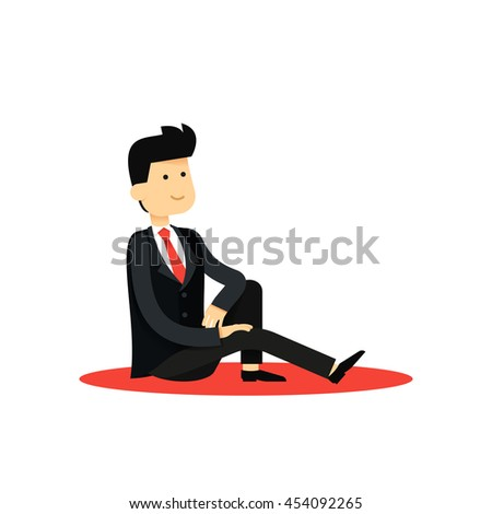 Character isolated business man, in black costume vector illustration. Office staff, boy happy face, people success, manager and employee. Business concept in flat.