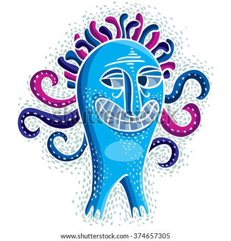 Character monster vector flat illustration, crazy smiling blue mutant. Drawing of weird beast, emotional expression.  - stock vector