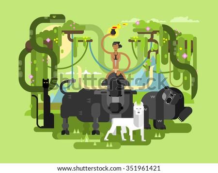 Character Mowgli. Wild man person cartoon, wildlife bull bear and wolf. Flat vector illustration - stock vector