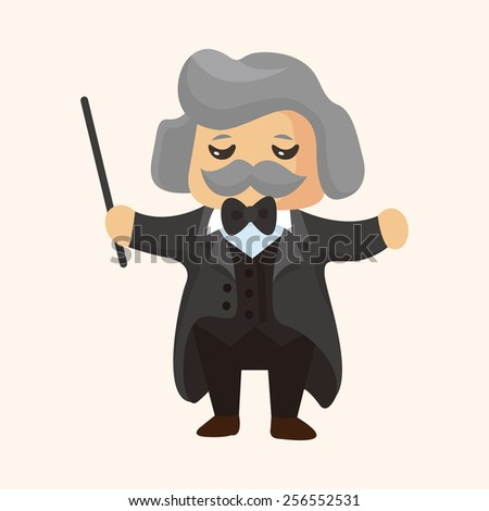 character musician conductor theme elements - stock vector