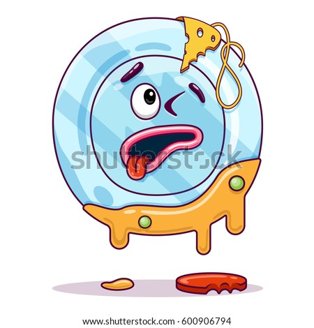 Character Dirty Dish Stock Vector 600906794 Shutterstock