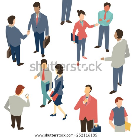 Character of Business people in communication concept, shaking hands, corporation, discussion. Multi-ethnic people and various activities.    - stock vector