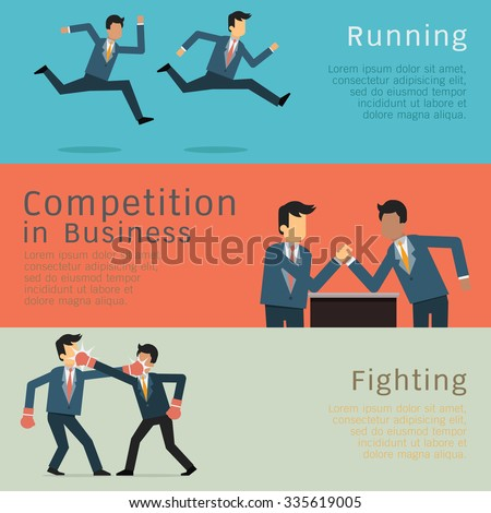 Character of businessman in business competition concept. Racing, fighting, and arm wrestling. Simple style with flat design. - stock vector