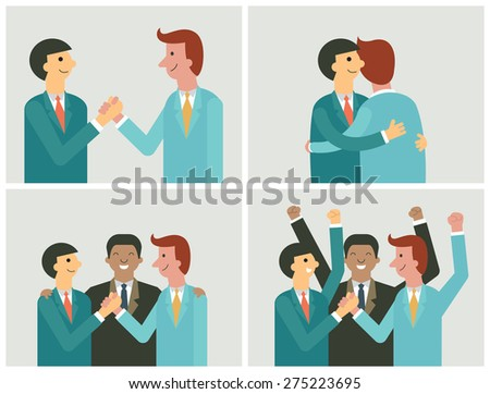 Character of businessman in cooperation concept. Shaking hands, teamwork, partnership, making a deal. Flat and simple design.  - stock vector