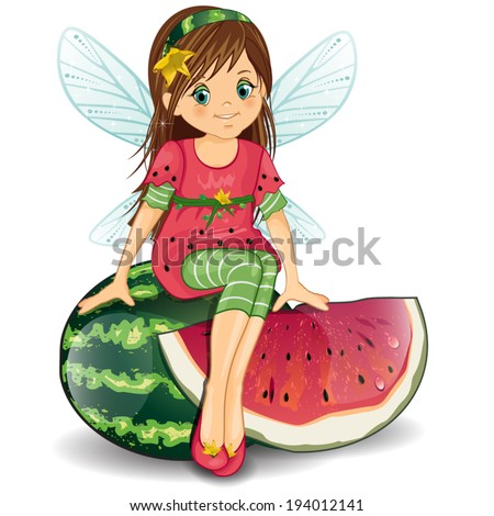 Character of fantasy fairy sitting on a watermelon-various levels-editable-transparency blending effects and gradient mesh EPS-10.  - stock vector