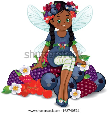 Character of fantasy, fairy sitting on berries . - stock vector
