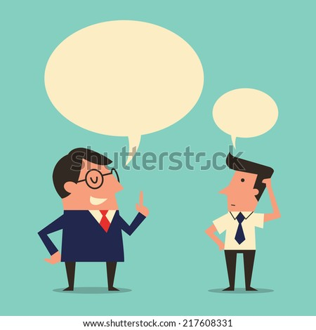 Character of manager or boss giving speech or instruction to subordinate worker who appear being confused or trying to get understanding. Simple design with  copyspace in speech bubble.  - stock vector