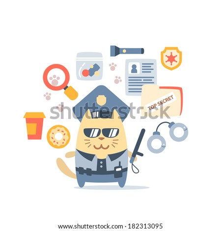 Character police in officer's cap and in the form of police with a official stick colorful flat composition of professional accessories. Cat male stands smiling and holding a  police stick - stock vector