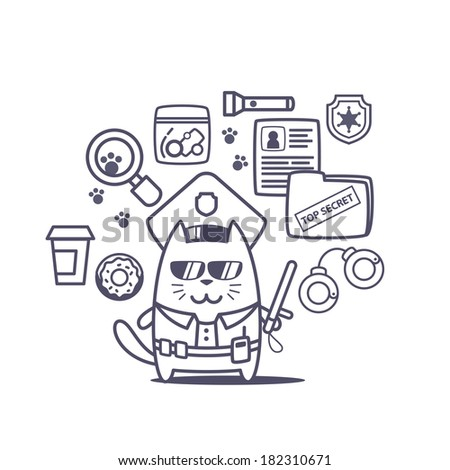 Character police in officer's cap and in the form of police with a official stick line art composition of professional accessories. Cat male stands smiling and holding a  police stick - stock vector
