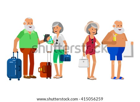 Character senior, senior age travelers. Old age retired tourists couple. Elderly couple senior having summer vacation. Old tourists with map and gadget, senior in swimsuits go on beach. Active - stock vector