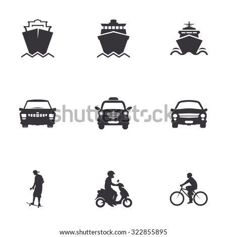 character set of logos of transportation, merchant ships, car, bicycle, scooter, skateboard - stock vector