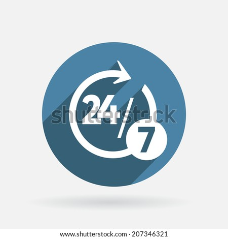 character 24 7 sign. Circle blue icon with shadow. - stock vector