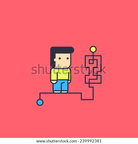 character solves complex logical way. Conceptual illustration. line art style - stock vector