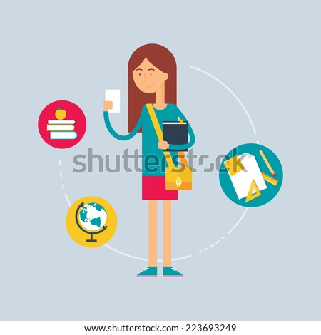 Character - student, education concept. Vector illustration, flat style  - stock vector