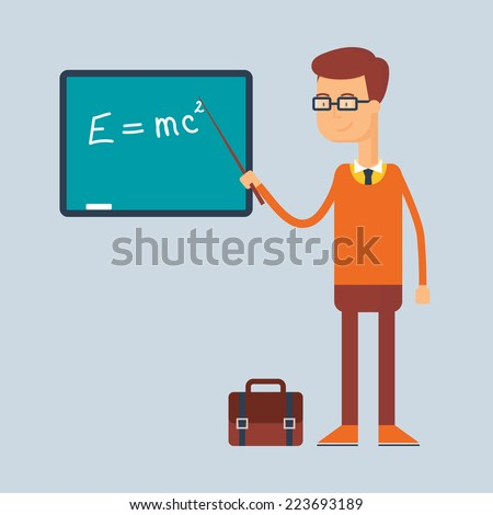 Character - teacher, education concept. Vector illustration, flat style  - stock vector