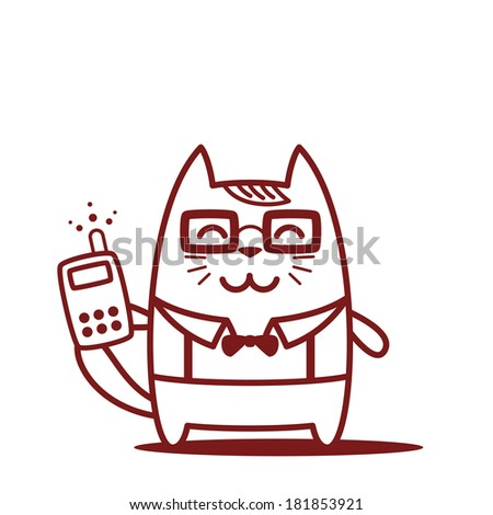 Character teacher in a business suit with suspenders line art. Cat female stands smiling and holding an phone - stock vector