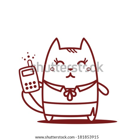 Character teacher in a woman business suit line art. Cat female stands smiling and holding an phone - stock vector