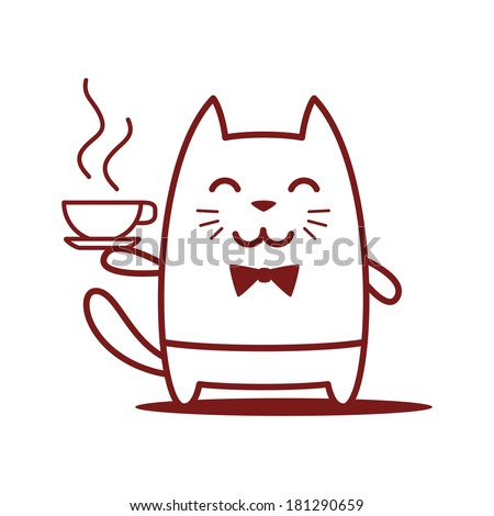 Character waiter uniform and bow tie. Cat male stands smiling and holding a cup of coffee - stock vector