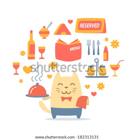 Character waiter uniform and bow tie colorful flat composition of professional accessories. Cat male stands smiling and holding a tray - stock vector