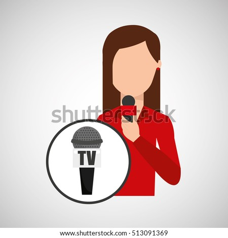 character woman reporter news microphone tv graphic vector illustration eps 10