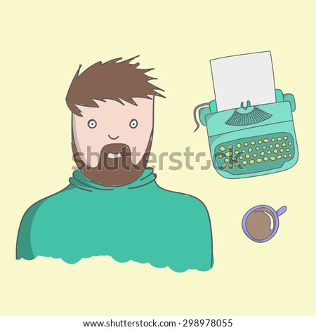 Character writer Guy illustration with typewriter, coffee on a yellow background - stock vector