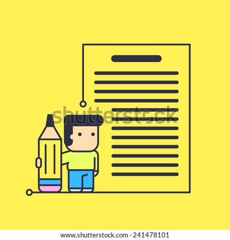 character writes big text. abstract conceptual illustration. - stock vector