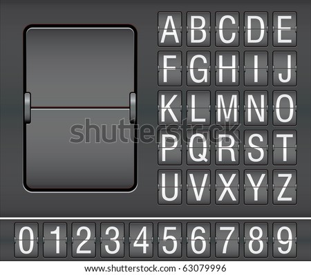 characters and numbers on mechanical scoreboard - stock vector