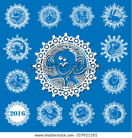 Characters Chinese zodiac signs in the snowflake. White icons on blue background.Vector illustration - stock vector