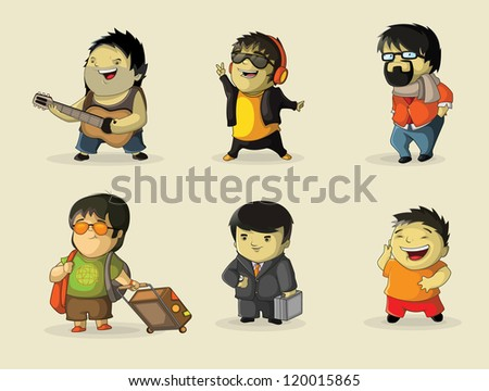 Characters involved various activities - stock vector