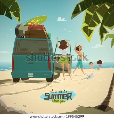 Characters on the beach vector illustration - stock vector