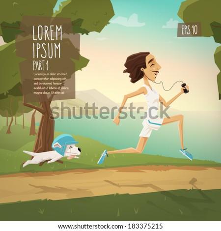 Characters run vector illustration - stock vector