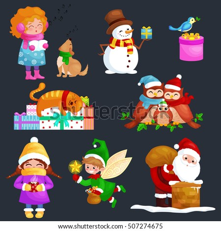 characters set Merry Christmas Happy new year, girl sing songs with dog, snowman gifts, cat and owls family and bird,elf Santa Claus climbing chimney bag