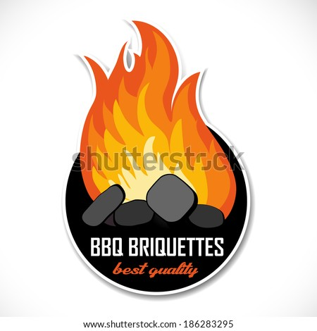 Charcoal briquettes icon template. Ready for your barbeque or grill design. - stock vector