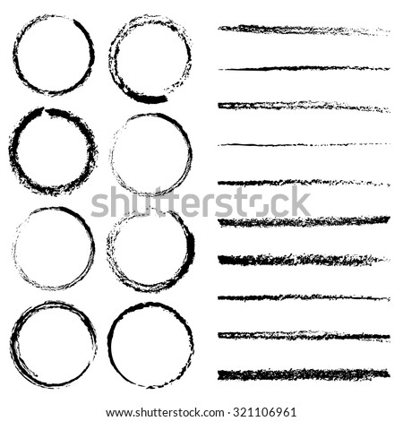 Charcoal circles and lines brushes set. Vector brushes - stock vector
