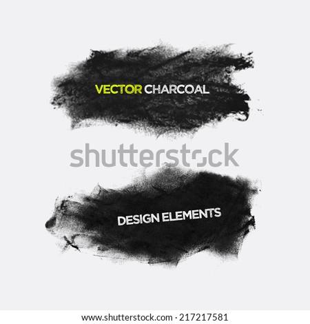 Charcoal texture grunge banners. Vector design elements. - stock vector
