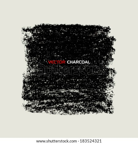 Charcoal texture square banner. Vector design elements.