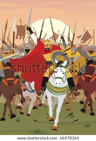 Charge: A King/Tsar/Emperor leading the army into battle. No transparency and gradients used. - stock vector