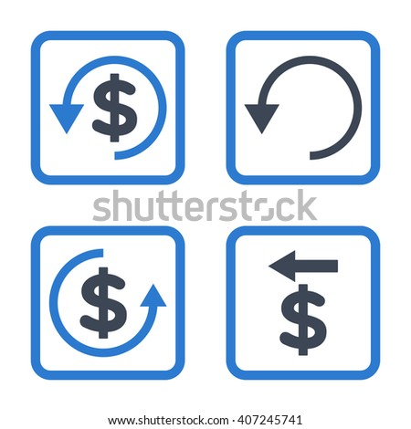 Chargeback vector bicolor icon. Image style is a flat icon symbol inside a square rounded frame, smooth blue colors, white background. - stock vector