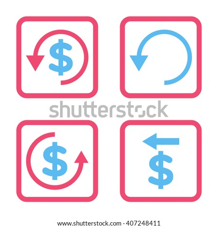 Chargeback vector bicolor icon. Image style is a flat icon symbol inside a square rounded frame, pink and blue colors, white background. - stock vector