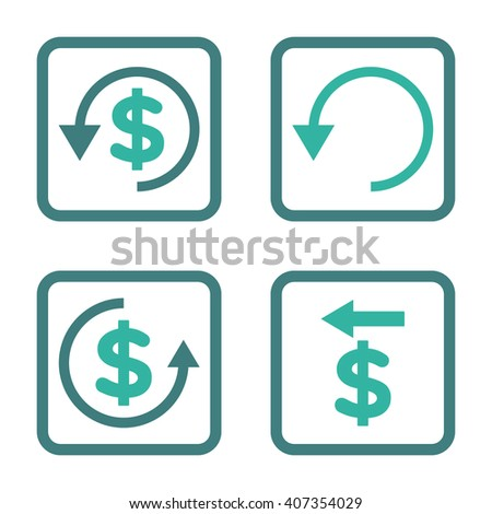 Chargeback vector bicolor icon. Image style is a flat icon symbol inside a square rounded frame, cobalt and cyan colors, white background. - stock vector