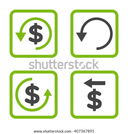 Chargeback vector bicolor icon. Image style is a flat icon symbol inside a square rounded frame, eco green and gray colors, white background. - stock vector