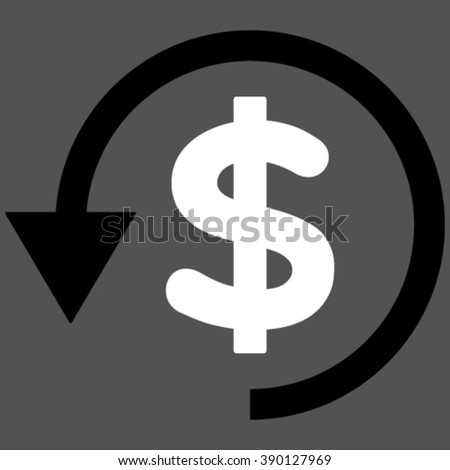 Chargeback vector icon. Chargeback icon symbol. Chargeback icon image. Chargeback icon picture. Chargeback pictogram. Flat black and white chargeback icon. Isolated chargeback icon graphic. - stock vector