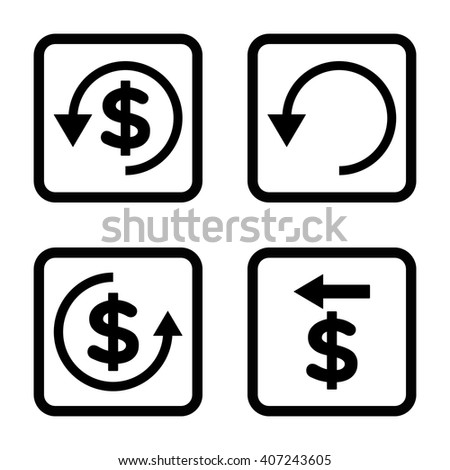 Chargeback vector icon. Image style is a flat icon symbol inside a square rounded frame, black color, white background. - stock vector