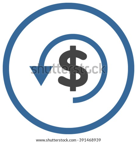 Chargeback vector icon. Style is bicolor flat rounded iconic symbol, chargeback icon is drawn with cobalt and gray colors on a white background. - stock vector