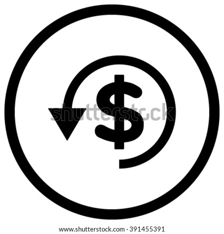 Chargeback vector icon. Style is flat rounded iconic symbol, chargeback icon is drawn with black color on a white background. - stock vector