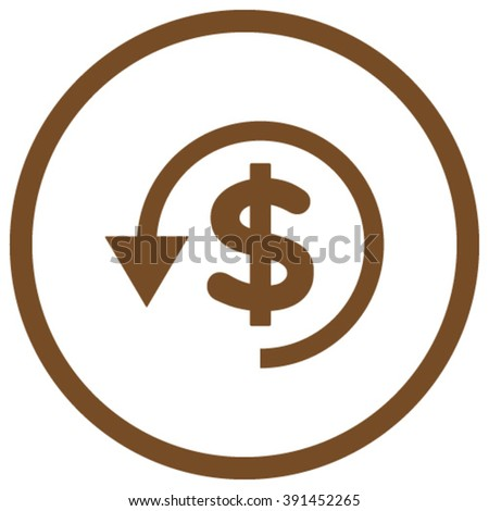 Chargeback vector icon. Style is flat rounded iconic symbol, chargeback icon is drawn with brown color on a white background. - stock vector