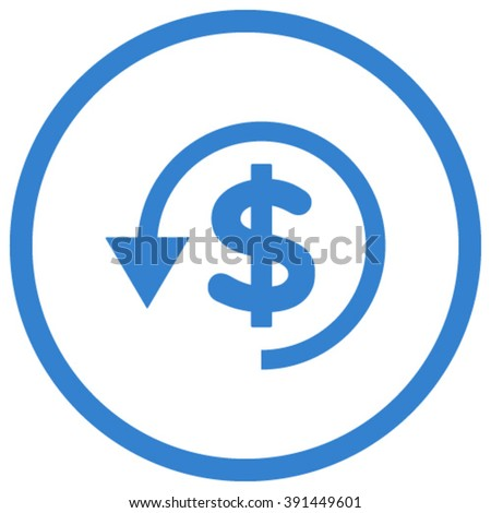 Chargeback vector icon. Style is flat rounded iconic symbol, chargeback icon is drawn with cobalt color on a white background. - stock vector