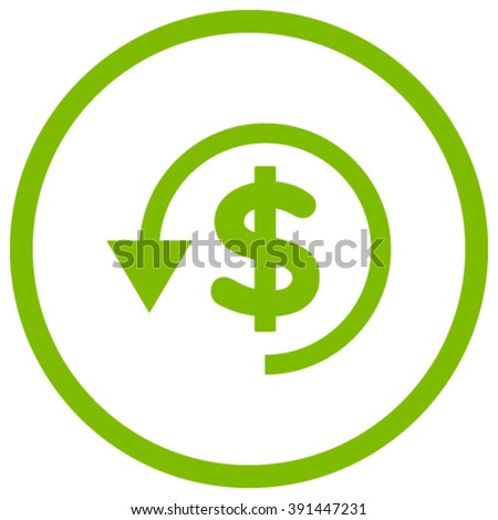 Chargeback vector icon. Style is flat rounded iconic symbol, chargeback icon is drawn with eco green color on a white background. - stock vector