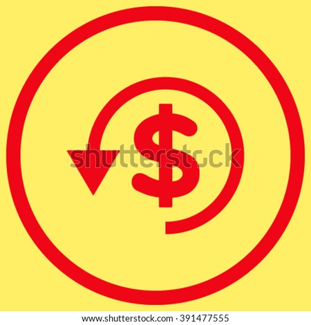 Chargeback vector icon. Style is flat rounded iconic symbol, chargeback icon is drawn with red color on a yellow background. - stock vector