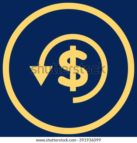 Chargeback vector icon. Style is flat rounded iconic symbol, chargeback icon is drawn with yellow color on a blue background. - stock vector